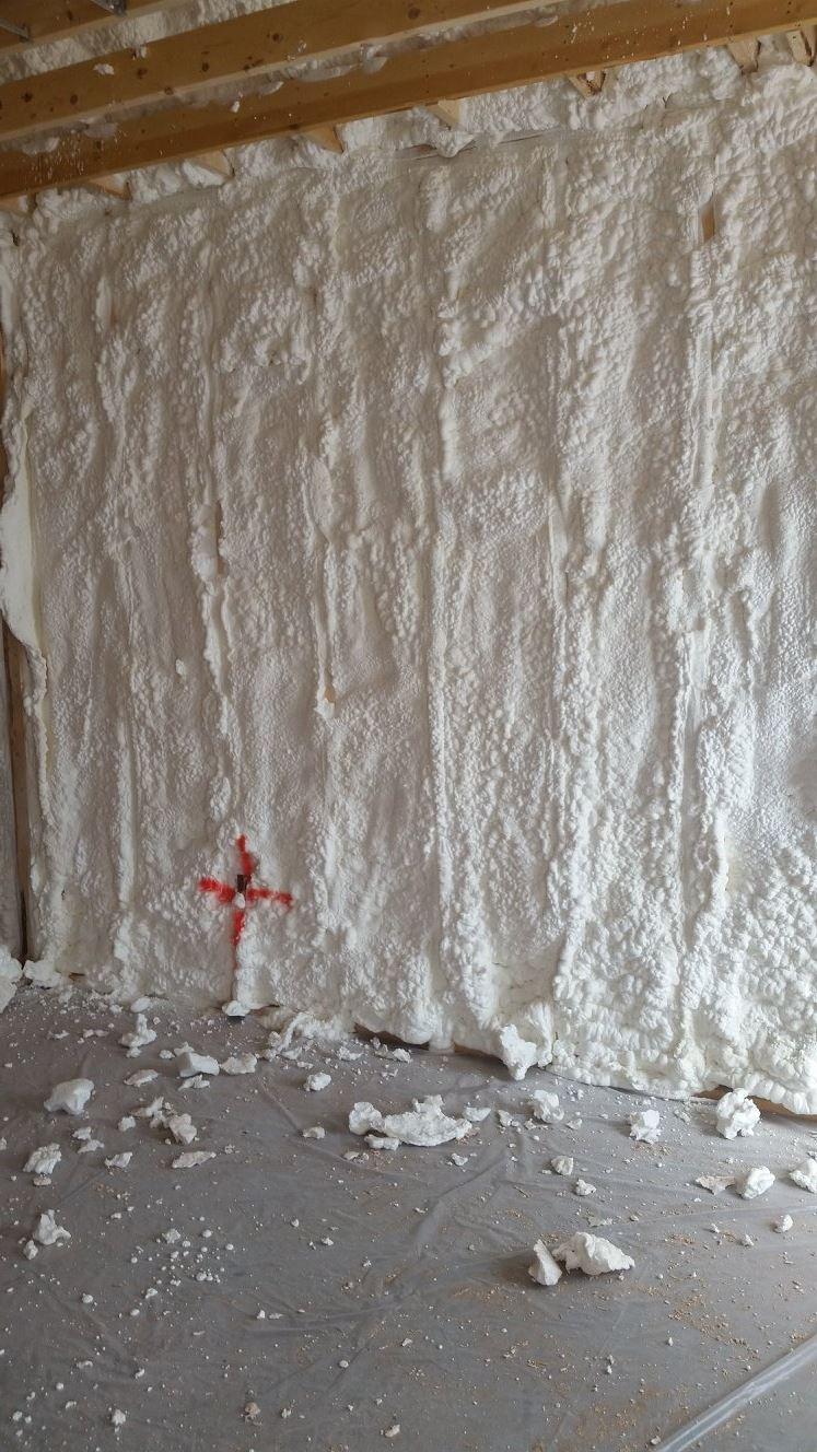 "6"" WALL Spray Foam BEFORE SHAVING"
